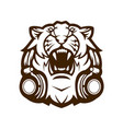 tiger with headphones vector image vector image