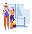 tourism family waiting for flight departure or vector image vector image