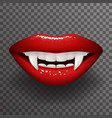 vampire tooth stylish woman lips slightly open vector image vector image