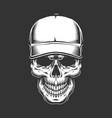 vintage skull head in baseball cap vector image vector image