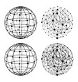 wireframe sphere with dots set vector image