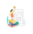 woman standing at book pile golden coin vector image vector image