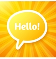 Yellow speech bubble with sign Hello vector image vector image