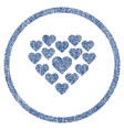 love hearts shape rounded fabric textured icon vector image
