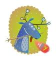 Monster reindeer Chrismas New Year funny greeting vector image