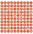 100 surfing icons hexagon orange vector image vector image