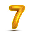 7 seven number golden yellow metal letter vector image