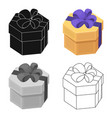a yellow festive gift in a purple ribbon gifts vector image