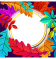 autumn background with round frame and leaves vector image vector image