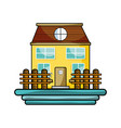 beutiful house with grid wood vector image vector image