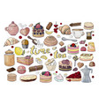 big set of tea pastry and sweets isolated on vector image