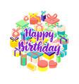 birthday present circle isometric concept vector image vector image