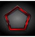 black and red pentagon on perforated metallic vector image