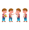 boy kindergarten kid poses set childhood vector image