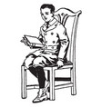 boy sitting in chair with book sit vintage vector image vector image
