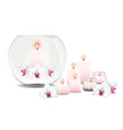 bubble vase with orchids and candles vector image