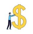 businessman holding big dollar symbol vector image