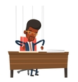 Businessman marionette on ropes working vector image vector image