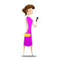 cartoon young girl using smart phone vector image