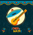 cinco de mayo mexican mariachi party poster art vector image vector image