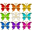 Colorful Buttons Set Butterflies vector image