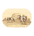 cows graze in meadow sketch dairy farm food vector image
