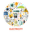 electricity isolated icon electrician tools and vector image vector image