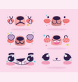 emojis kawaii cartoon bear expression faces set vector image vector image