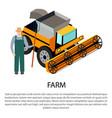 farmer with a pitchfork near harvesting car vector image