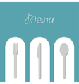 Fork spoon and knife on white arch Menu card Flat vector image vector image