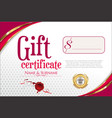 gift certificate with golden seal and design vector image vector image