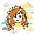 girls face human head character beautiful vector image