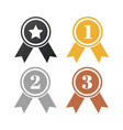 gold silver and bronze winner badges award vector image