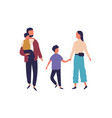 happy cartoon family holding hands hugging vector image