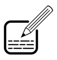 icon edit write text entry with pencil square box vector image