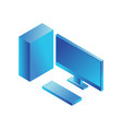 isometric pc monitor icon computer technology sign vector image