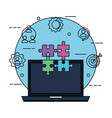 laptop with puzzle pieces and business set icons vector image vector image