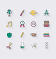line icons set in flat design elements school vector image