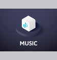 music isometric icon isolated on color background vector image vector image