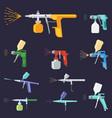 paint sprayers set airbrushing yellow pistols red vector image