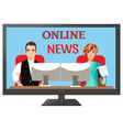people leading news on tv vector image vector image