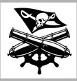 piracy flag and crossed canon vector image vector image
