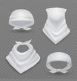 Realistic white bandana 3d blank mockup fabric