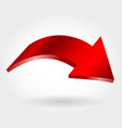 red down arrow and neutral white background vector image vector image