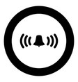 ringing bell icon black color in circle vector image vector image