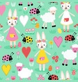 seamless repeating childish pattern with vector image