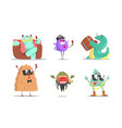 set cute humanized monsters vector image vector image