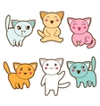 Set of kawaii cats with different facial vector image vector image