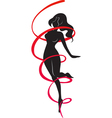Silhouette of slender woman and red ribbon vector image vector image