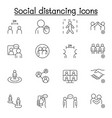 social distancing icons set in thin line style vector image vector image